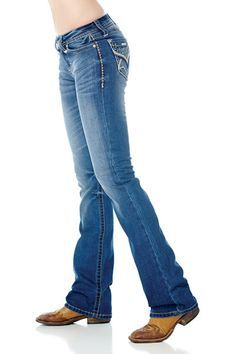 Cowgirl Up Womens Blue Cotton Blend Spring Sparkle Med Stonewash Jeans