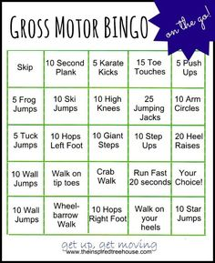 GROSS MOTOR ACTIVITIES: BINGO ON THE GO! [some ideas - you could make up your own activities. play bingo or put slips in a jar & choose one when you need an idea! -lm] Handwriting for kids motor skills. Physical Activities For Kids, Movement Activities, Gross Motor Activities, Gross Motor Skills, Sensory Activities, Therapy Activities, Physical Education Games, Health Education, Sports Day Activities