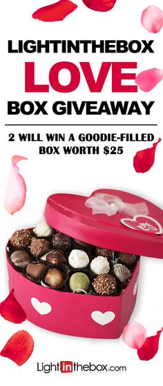 """Lightinthebox Love Box Giveaway! Be our Valentine!!! Rules to enter: 1. Follow us and repin this post 2. Go to lightinthebox.com and Re-pin products up to $25 and caption it """"Lightinthebox's Love box """" 3. Comment down below this post with """"Cupid, Cupid, wish me LUCK!"""" 2 Winners will get $25 to shop what they pin. 3 winners will get $10 coupon to save on your next order! Winners will be announced on Feb,15th, 2016. Good luck, boys and girls!"""