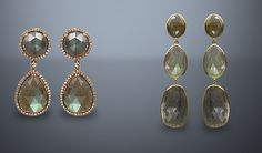Labradorite Drops in Set in Yellow Gold, and in diamond frame with rose gold