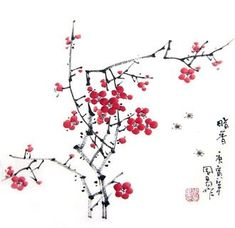 Chinese Plum Blossom Painting,33cm x 33cm,2396001-x