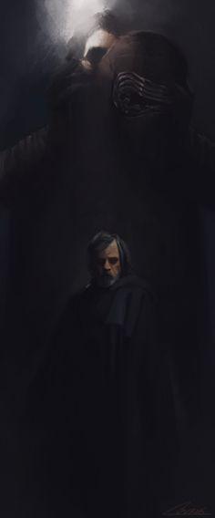 Luke Skywalker and Kylo Ren by realjburns #starwars
