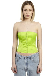 SATIN CORSET IN LIME BY DANIELLE GUIZIO