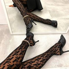 Fendi, Classy Aesthetic, Aesthetic Clothes, Aesthetic Black, Japanese Aesthetic, Heeled Mules Sandals, Style Urban, Tights Outfit, Mode Streetwear