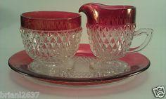 Indiana glass ruby flash diamond point cream sugar and tray…