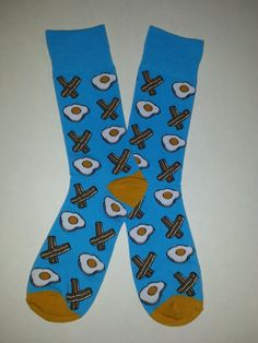 Bacon and Eggs themed Crew Socks! Sold by Socks & Souls where we are warming souls through soles by giving a pair of socks to someone in need with every sock purchase! Visit socksandsouls.com today and warm souls, and soles, the simple way!