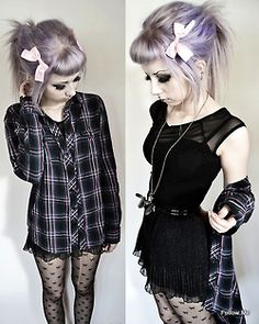 Black dress with purple and black checked shirt x  <------ Why did I never think of pairing those together?