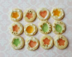 Dolls house biscuits  ~ Dollhouse miniature food ~ one inch scale ~ window pane cookies ~ Christmas biscuit by MagentaMinis on Etsy