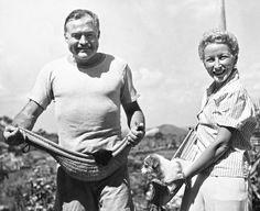 Havana, Cuba March 20, 1946Author Ernest Hemingway and his fourth wife, Mary Welsh, hold their pets in jai alai baskets on the Hemingway farm in San Francisco de Paulo, a Havana suburb.