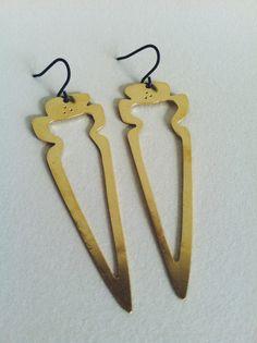 Brass arrowhead cutout earrings by LittleToro Designs on Etsy.