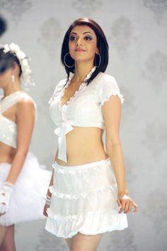 Kajal Agarwal Hot Navel In White Dress Pics Images Stills Photos Gallery