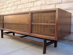 SOLD Mid Century Wood Stereo Console TV Credenza