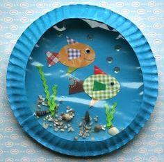 Onderwijs en zo voort ........: 2504. Vissen knutselen : Aquarium van papieren bordjes