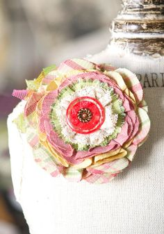 Easter Corsage Pin - Pastel Pink and Yellow Bloom with Unique Red Button
