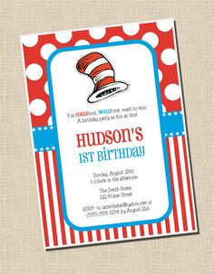 Cat in the Hat Party Collection Printable by sweetpeachpaperie