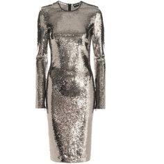 Tom Ford Sequin-Embellished Dress ($5,650) ❤ liked on Polyvore featuring dresses, silver, yellow gold dress, gold cocktail dress, brown sequin dress, sequin embellished dress and brown dress