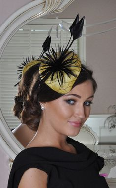 Tracey Yellow Fascinator