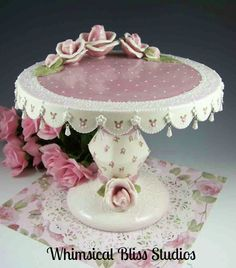 Whimsical Bliss Studios - Tall Rose Cake Plate