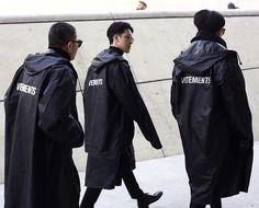 VETEMENTS RAINCOAT #SQUAD #vetements #demnagvasalia #seoulfashionweek • @vetements_official • During the #seoulfashionweek we see allot of exciting streetwear outfits like these 3 guys wearing the iconic #vetements raincoat jackets #VetementsArmy • #vetements #fashion #seoul #fashionweek #fw #milan #japan #paris #la #nyc #yeezy #black #kanyewest #skateboard #surf #blacksnobiety