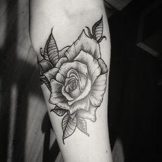 Rose tattoo #bw #black #blackwork #linework #dotwork #gravure #лайнворк #дотворк…