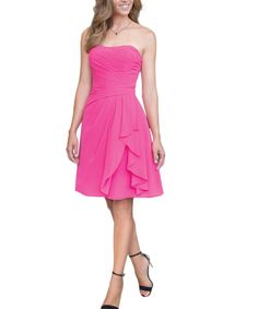 Bright Pink Strapless Sweetheart Neckline Short Cascaded Chiffon Bridesmaid Dress
