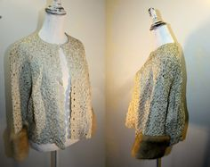 Lovely vintage mi-century cropped jacket made from a silk ribbon knit with mink fur cuffs