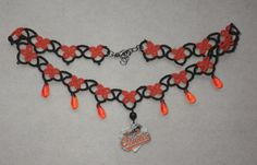 MLB Baltimore Orioles Baseball Black and Orange Tatted Necklace, tatting, tat, jewelry, licensed log