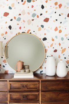 Accent Wallpaper, Office Wallpaper, Wall Wallpaper, Wallpaper Ideas, Wallpaper For Kitchen, Wallpaper For House, Midcentury Wallpaper, Wallpaper Accent Wall Bathroom, Funky Wallpaper