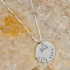 Accomplish finishing a special 26.2 marathon race?  We layered our hand stamped, sterling silver hand stamped 26.2 circle, and layered it over a larger hand stamped sterling silver circle that is hand stamped with your city name, for a great necklace