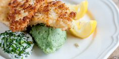 Crumbed plaice gets a colourful companion with green mash made from parsley purée in this plaice recipe