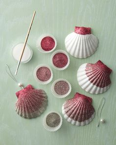 Ombre Glittered Seashell Ornaments