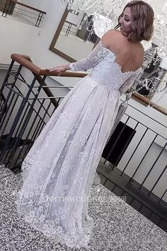 Shop affordable Retro Lace High Low Off The Shoulder Long Sleeves Summer Beach Bohemian Bridal Gown at June Bridals! Over 8000 Chic wedding, bridesmaid, prom dresses & more are on hot sale. Half Sleeve Wedding Dress, Wedding Gowns With Sleeves, Wedding Dress Chiffon, Lace Wedding, Casual Wedding, Wedding Bride, Gold Prom Dresses, Prom Dresses For Sale, Modest Wedding Dresses