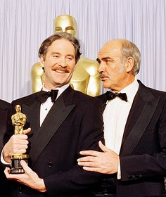Kevin Kline, and Sean Connery at the Annual Academy Awards. Kline won the Oscar for Best Supporting Actor for his performance in A Fish Called Wanda. Connery won the previous year for The Untouchables. Academy Award Winners, Oscar Winners, Academy Awards, Sean Connery, Harry Winston, Oscars, Kevin Kline, Winners And Losers, Go To Movies