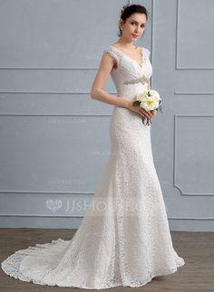 [US$ 179.59] Trumpet/Mermaid V-neck Sweep Train Lace Wedding Dress With Beading
