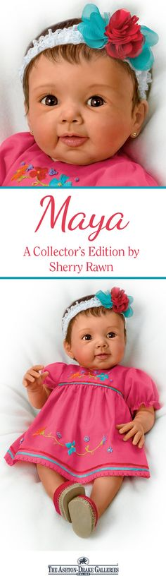The Maya Baby Doll is a vision of summertime in her embroidered dress with matching espadrilles! This So Truly Real sweetie is handcrafted of RealTouch vinyl and is poseable and weighted to feel so real in your arms. Plus, her fancy floral headband adds the perfect finishing touch! 100% satisfaction guaranteed - Shop Now!
