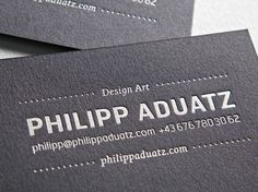 -typejockeys- As an artist, Philipp Aduatz works between the poles of sense perception and theory of science, on the intersection of art and design. Reserved design + letterpress + silver + navy blue black cardboard = one unique business card.