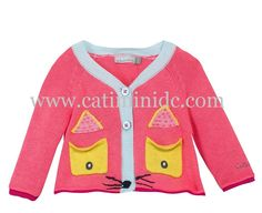 Catimini SS15-Camellia pink knitted cardigan. There are two pockets on the front mocked up as eyes and black stitching on the hem as a mock nose. 3M TO 18M