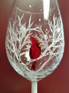 Winter cardinal painted wine glass