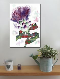 SCOTTISH THISTLE AND CLAN TARTAN PLAID RIBBON http://www.splashyartystory.com/shop/art-prints/thistle-and-clan-tartan-ribbon-art-canvas-of-painting/