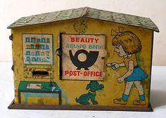 Vintage Beauty Saving Bank Post Office Empty Tin Box Made in India TB33   eBay