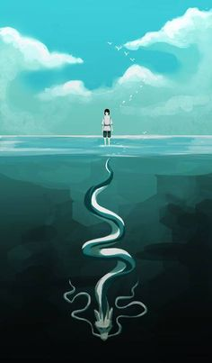 roobascooba: Ghibli on We Heart It. Studio Ghibli-Spirited Away Hayao Miyazaki, Art Studio Ghibli, Studio Ghibli Movies, Manga Anime, Anime Art, Chihiro Y Haku, Kohaku, Film D'animation, Howls Moving Castle