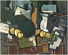 Guitarra, la fruta y la jarra, 1927 - Georges Braque. Cubismo , Expresionismo