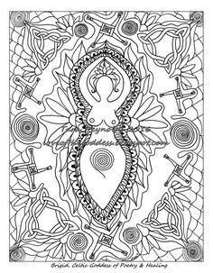Coloring Pages for Adults, Imbolc Sabbat Coloring Page, Goddess Art, Brigid Goddess, Goddess Print, Mandala Wall Art