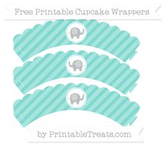 Free Tiffany Blue Diagonal Striped  Baby Elephant Scalloped Cupcake Wrappers