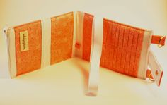 Women's Wallet Organizer with Card Slots - 2 in 1 - Peach and White Fabric - pinned by pin4etsy.com