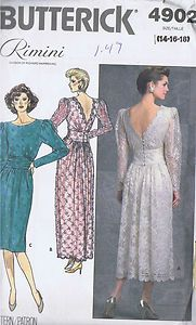 Vintage Butterick 4902 Rimini Designer Pattern Dress Size 14 16 18 Uncut Dated 1987 Size 14 16 18 = bust 36 to 4 Evening Dress Patterns, Dress Sewing Patterns, Vintage Sewing Patterns, Pattern Dress, Prom, Under Dress, Wedding Bridesmaid Dresses, The Ordinary, Designer Dresses