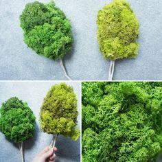 Drzewa wykonane z mchu chrobotał na naturalnej gałązce. Na makietę lub jako dekoracja. #makieta #drzewo #mech #mechchrobotek #dekoracja #zielony #eko #natura #fridiy #mynio #rękodzieło #wnętrza Herbs, Diy, Handmade, Food, Hand Made, Bricolage, Essen, Herb, Do It Yourself