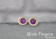 Handmade sterling silver stud earrings with by NFergusonJewellery, £45.00