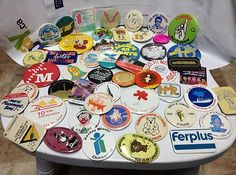 vintage collection of 50 differents promotional button back pins Mostly French