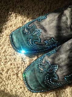 Bedazzling boots by ginaroddesigns on Etsy, $55.00